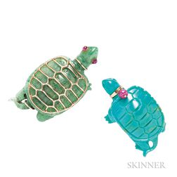 Two 14kt Gold and Hardstone Turtle Brooches, Seaman Schepps
