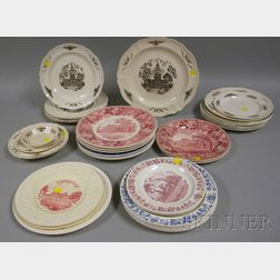 Thirty-five Assorted Wedgwood U.S. States and Cities Ceramic Plates