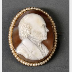 14kt Gold and Cameo Brooch Depicting John Quincy Adams (1767-1848)