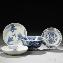 Four Blue and White Tableware Items