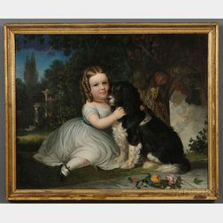 """American School, 19th Century      Portrait of """"Margaret Anna Jobs/Age 6 1838/Springfield, New Jersey,""""  with Her   Spaniel."""