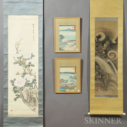 Two Scroll Paintings and Two Woodblock Prints