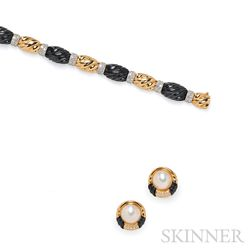 18kt Gold, Onyx, and Diamond Bracelet, retailed by Black, Starr & Frost