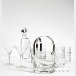 Assembled Barware, late 20th/21st century, including a Baccarat decanter, two cylindrical handled ice buckets, a pair of martini glasse