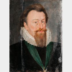 British School, 16th/17th Century, Portrait of a Gentleman with a Long Beard Wearing a Ruff and a Green Ribbon with a Suspended Decorat