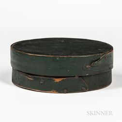 Green-painted Oval Pantry Box