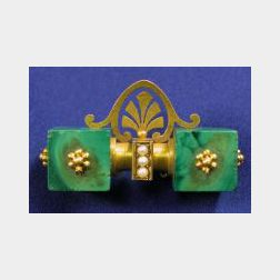 Antique 14kt Gold and Malachite Brooch