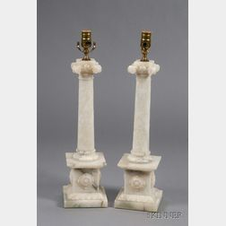 Pair of Classical Revival Carved Alabaster Column-form Lamp Bases