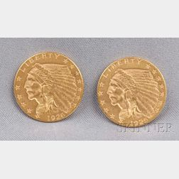Two Indian Head Two and One Half Dollar Gold Coins