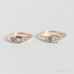 Two 14kt Gold and Diamond Rings