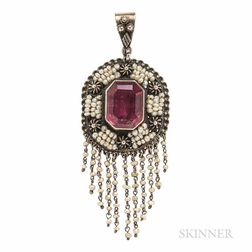 Silver and Pink Tourmaline Pendant