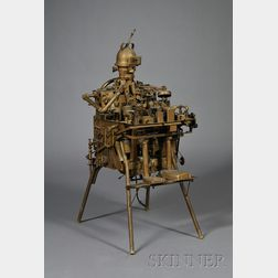 Found Metal Kinetic Sculpture of a Child Seated in a High Chair