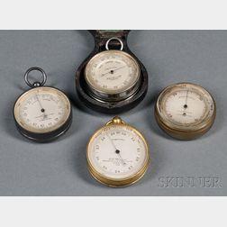 Four English Aneroid Pocket Barometers