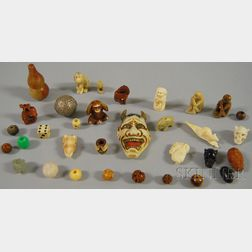Collection of Assorted Ojime, Fetishes, and a Netsuke