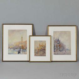 F. Fulin (Italian, 20th Century)      Three Views of Venice: San Marco Facade ,  Piazetta di San Marco