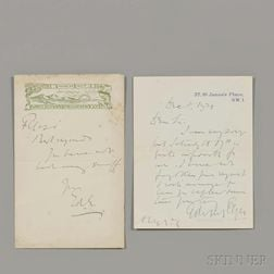 Elgar, Sir Edward (1857-1934) Two Autograph Notes Signed.