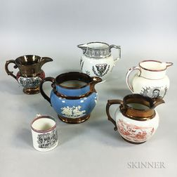 Six American Historical Lustre Items