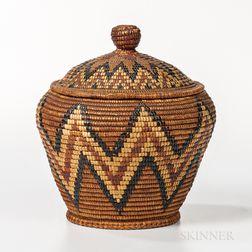Northwest Coast Imbricated Lidded Basket