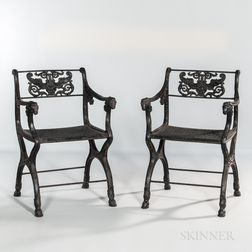 Pair of Black-painted Neoclassical Cast Iron Chairs