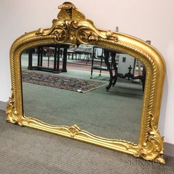Rococo Revival Carved and Gilt Overmantel Mirror
