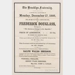 Frederick Douglas Lecture Announcement Handbill
