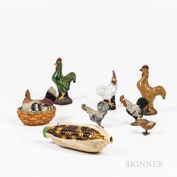 Seven Small Earthenware Bird Figures and a Husk of Corn