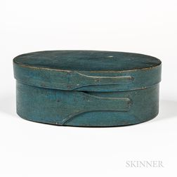 Blue-green-painted Oval Pantry Box