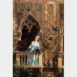 Antonietta Brandeis (Italian, 1848-1926)      Elegant Woman on a Balcony