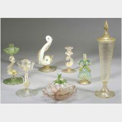 Seven Venetian Glass Pieces