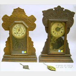 Two Oak Gingerbread Clocks