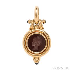 18kt Gold, Hardstone Intaglio, and Sapphire Pendant