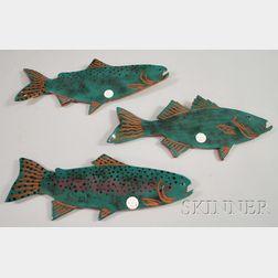 Set of Three Herling Art Pottery Glazed Fish and a Lawson Art Pottery Glazed Fish   Figure