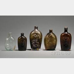 Five Colored Glass Flasks