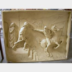P.P. Caproni and Brother Painted Cast Plaster Relief Panel Paul Revere's Ride