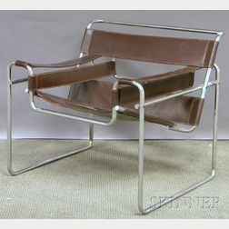 Modern Marcel Breuer Wassily-style Brown Leather and Bent Steel Chair