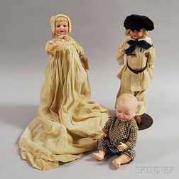 Three German Bisque Head Dolls