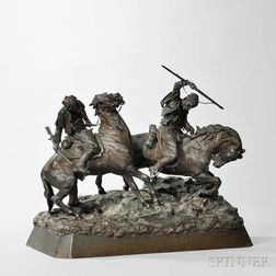 After Vasili Grachev (Russian, 1831-1905)       Bronze Figure of Two Horsemen