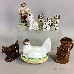 Nine Staffordshire Ceramic Figures
