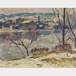 John Fulton Folinsbee (American, 1892-1972)      River Landscape