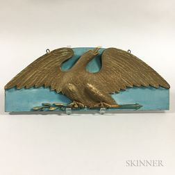 Carved and Painted Pine Spreadwing Eagle Plaque