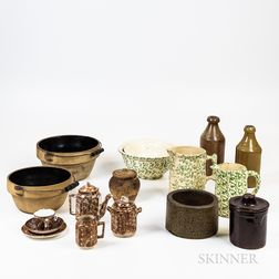 Seventeen Spongeware and Stoneware Table Items