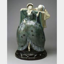 Goldscheider Pierrot and Lady Ceramic Figurine