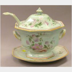 Large Adams Calyx Ware Covered Soup Tureen with Ladle and Undertray.