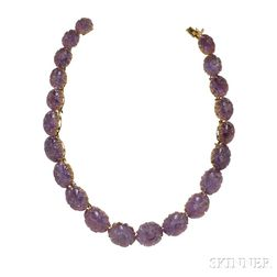 14kt Gold and Carved Amethyst Suite, Trio
