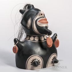 Contemporary Painted Pottery Figure