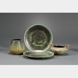 Two Shearwater Plates; Fulper Bowl and Weller Vase