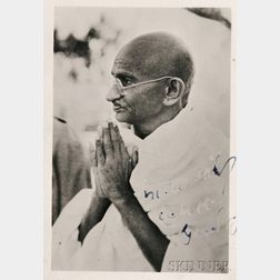 Gandhi, Mahatma (1869-1948) Signed Photograph, Additional Snapshot, and Letter from Amrit Kaur (1889-1964).