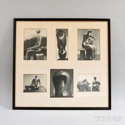 Six Tate Gallery Henry Moore Sculpture Photos in a Common Frame