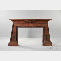 Carved Oak Egyptian Revival Part-ebonized Mantelpiece