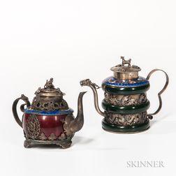 Two Export Metalwork Teapots